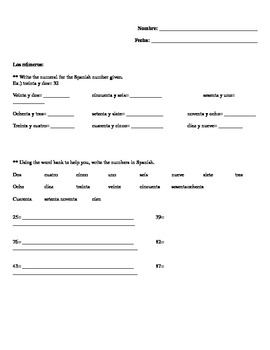 Spanish numbers 1-100 (números) quiz, homework, or class work