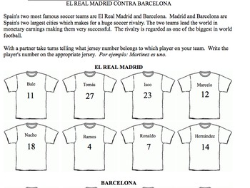 Spanish numbers 1-30 speaking activity with Real Madrid and Barcelona