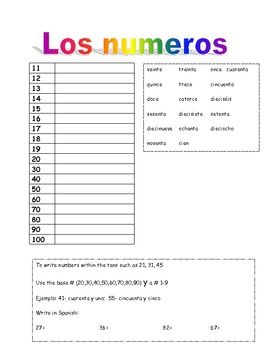 Spanish numbers 11-100 guided notes