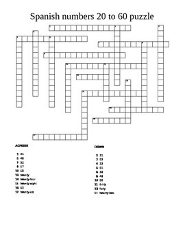 Spanish numbers 20 to 60 crossword puzzle worksheet