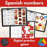 Spanish numbers practice game - picture tiles