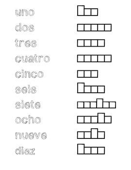 Spanish numbers spelling worksheet.