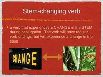 Spanish O to UE & U to UE Stem-changing Verbs PowerPoint Slideshow