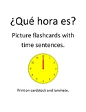 Spanish o'clock Picture Flashcards with Sentences