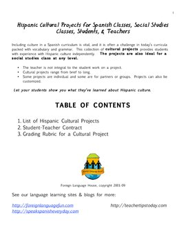 Spanish or Social Studies: Cultural Projects