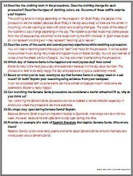 Spanish - Extensive Semana Santa Webquest ENGLISH Version