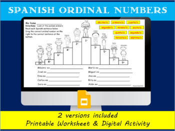 Spanish Ordinal Numbers Worksheets & Teaching Resources | TpT