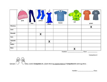 Spanish partner direct object pronoun and clothing vocabulary practice