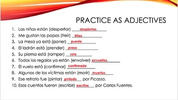 Spanish past participles