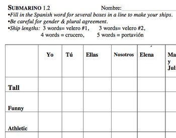 Spanish personal adjectives- Battleship Game