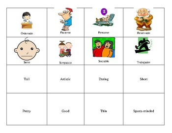 Spanish personality and physical description memory game