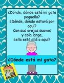 ¿Dónde está mi gata? -Spanish positional words book, color sheets, flash cards