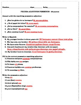 possessive adjectives Spanish 1 page quiz 20 questions