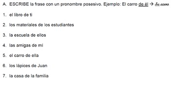 Spanish possessive pronouns and contractions