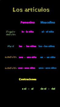 Spanish posters - Los artículos y palabras de tránsito
