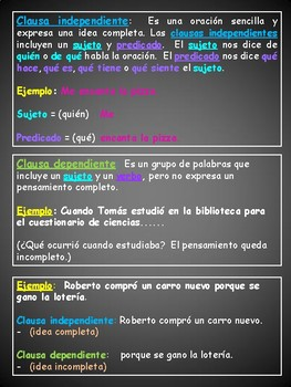 Spanish poster - Sentence structure