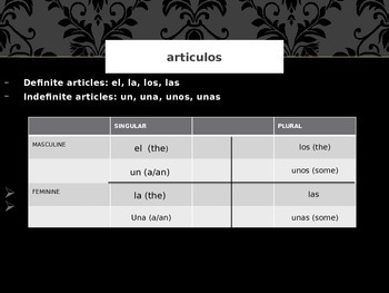 Spanish powerpoint: ser, article agreement, negative sentences