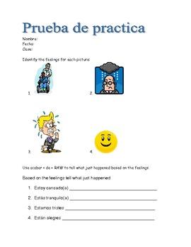 Spanish practice quiz and quiz feelings with estar, acabar de, venir and gustar
