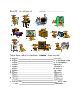 "Spanish prepositions and ""estar"" WS"
