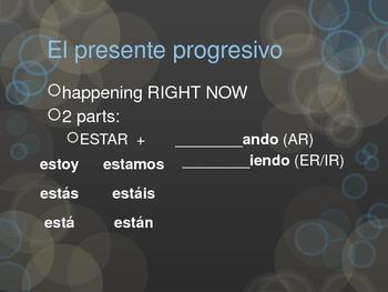 Spanish present progressive notes