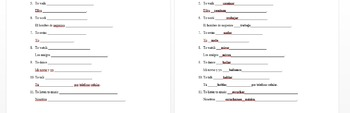 Spanish present tense verb conjugation worksheet/guided notes