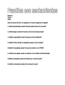 Spanish question practice with estar and basic feelings