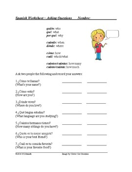Spanish Question Word Practice - FREEBIE!!