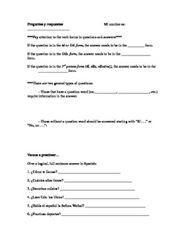 Spanish question/answer practice