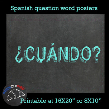 Spanish questions word posters - chalk theme