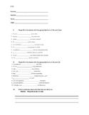Spanish quiz - Sixth / Seventh / Eighth grade - Verb Tener / AR Verbs / Gustar