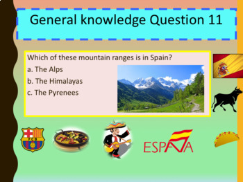 Spanish quiz end of school year PPT for beginners