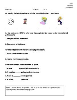Spanish quiz feelings with estar, acabar de, venir and gustar