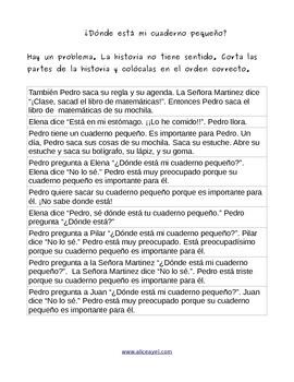 Spanish reading: ¿Dónde está mi cuaderno pequeño?