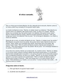 Spanish reading: El chico cansado