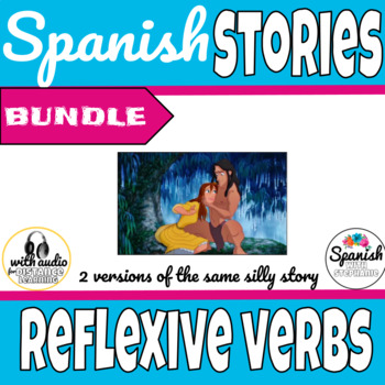 Spanish reading: Reflexive verb vocab practice (past/present bundle)