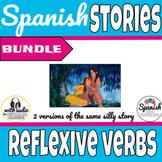 Spanish reading: Reflexive verb vocab practice (past/present bundle)