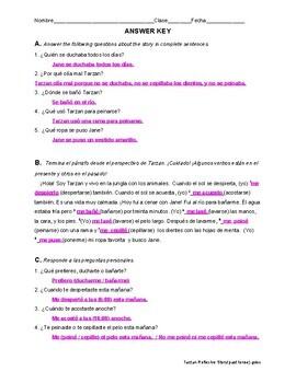 "Spanish reading: Reflexive verb vocab practice ""Tarzan y Jane"" (past tense)"