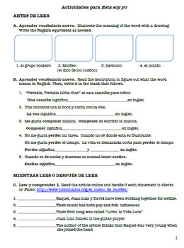Integrated Song and Reading Activities- Esta soy yo