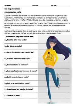 SPANISH READING: CONOCEMOS A LUCÍA