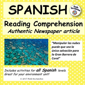 """Spanish reading comprehension - """"La Gran Barrera de Coral"""
