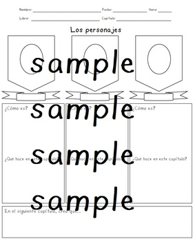 Spanish reading comprehension character worksheet
