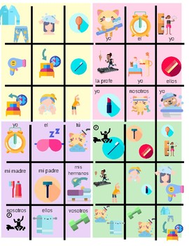 Spanish reflexive verbs active learning tic tac toe
