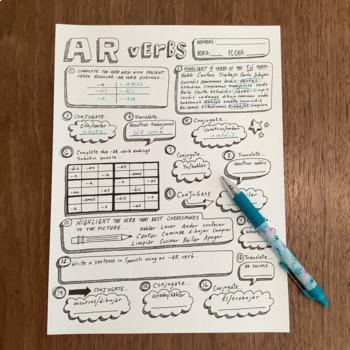 Spanish Ar Verbs Worksheet | Teachers Pay Teachers