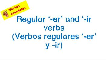 Spanish regular '-er' and '-ir' verbs PowerPoint