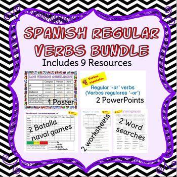 Spanish regular verbs ('-ar', '-er' and '-ir') present tense bundle