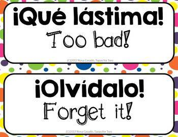 Spanish rejoinders High Frequency Phrases Word Wall