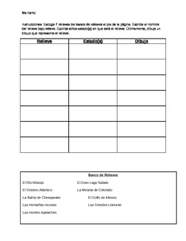 Spanish relieves/landforms worksheet- Emphasizes Geography