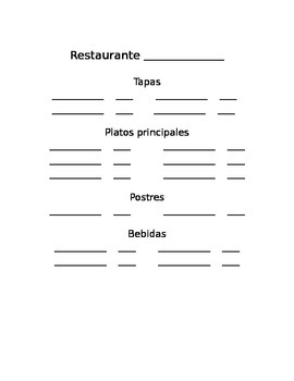 Spanish restaurant menu template & practice with verbs PED