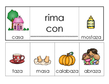 Spanish rhyming words flip books
