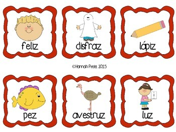 Spanish /s/ Word Picture Cards